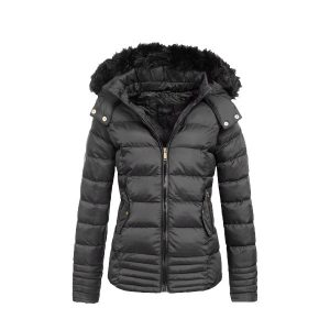 New Style Black Fur Bubble Jacket for Women - Tapfer