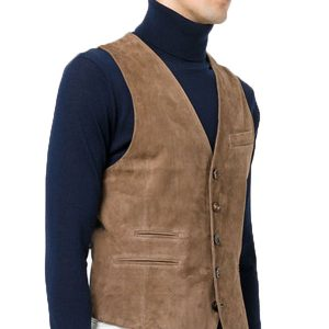 Brown Velvet Leather Vest in Attractive Look