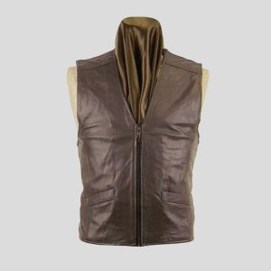 Brown Leather Vest for Mens with Zipper