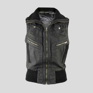 Mens Black Leather Vest with Zipper