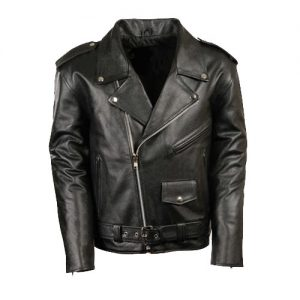 Classic Biker Style Leather Jacket