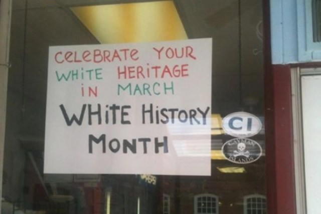 NJ Shop Owner Hangs White History Month Sign In Store Window