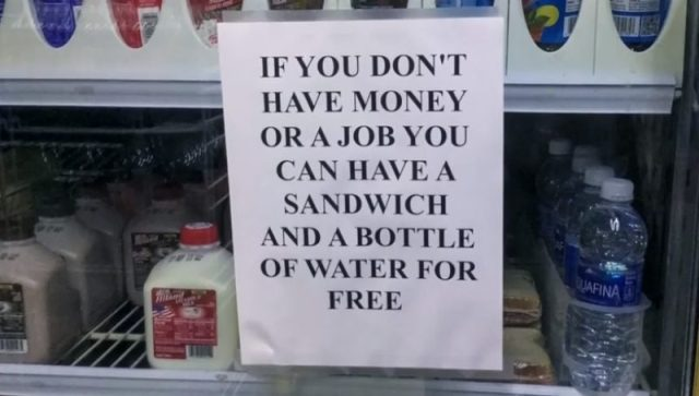 Frank Hemani Posts Sign For Homeless People At His Gas Station