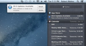 Apple Mac OS X Mountain Lion Upgrade Notification Centre
