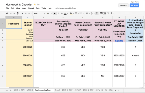 Google Drive Spreadsheet Published to Web For Assessment Data