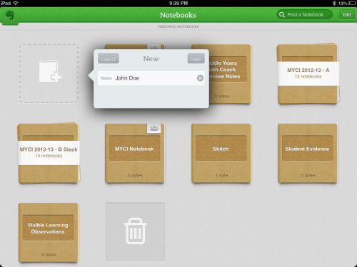 Create Student Evernote Notebooks for Assessment and Evaluation