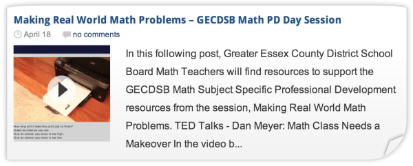 Making Real World Math Problems - Professional Development