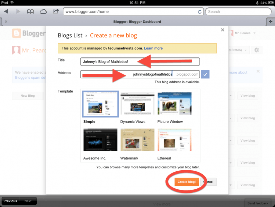 Blogger for Learning - Setting Up Individual Student Blogs