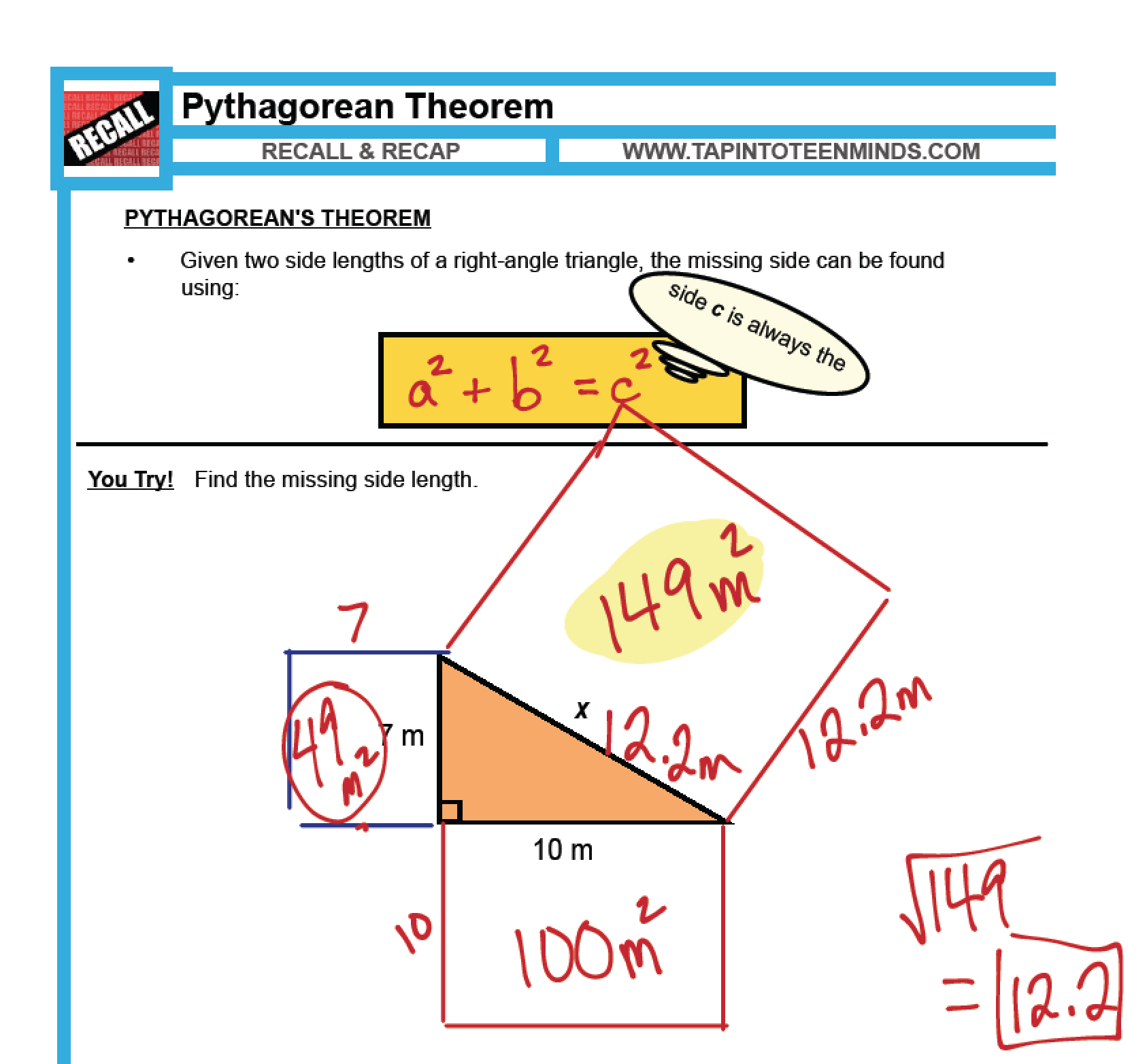 hight resolution of 1.5 - Pythagorean Theorem   MFM1P Grade 9 Applied Math Help