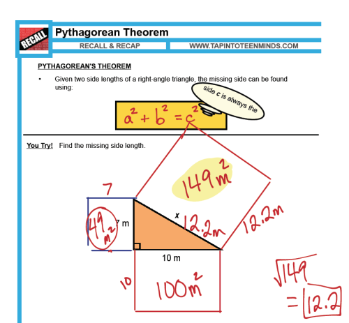 small resolution of 1.5 - Pythagorean Theorem   MFM1P Grade 9 Applied Math Help