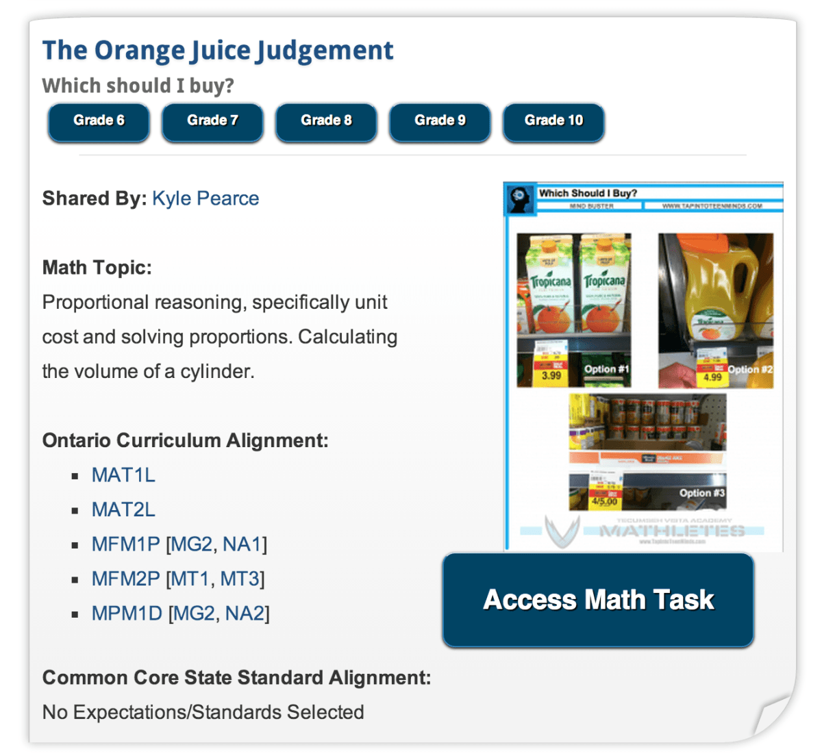 Search for Real World Math Tasks