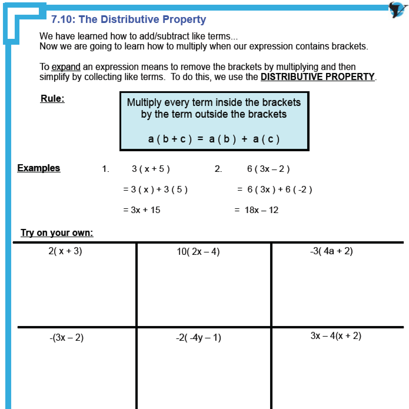 Easy Distributive Property Worksheets