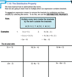 7.5 - The Distributive Property   Distribution to Simplify Polynomials [ 1390 x 1390 Pixel ]