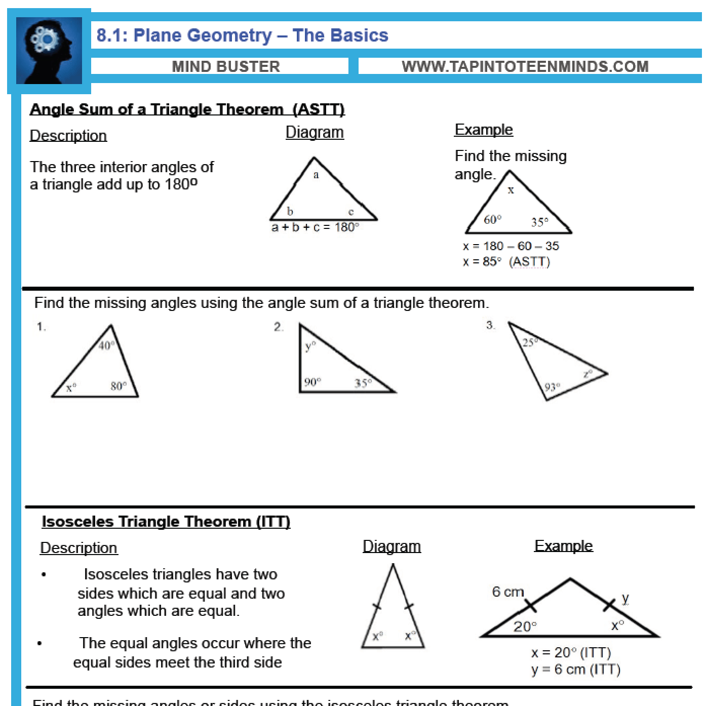 hight resolution of 8.1 - Angle Relationships in Triangles and Parallel Lines   Gr 9 Math