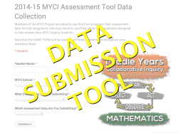 Middle Years Collaborative Inquiry (MYCI) Monitoring Tool Data Submission Form