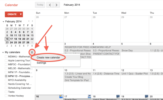 Click the My Calendars Pulldown Menu and Create New Calendar