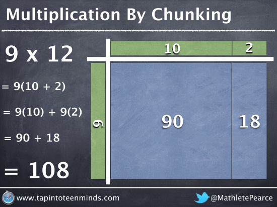 Multiplication By Chunking - 12 x 9 = 9x10 + 9x2