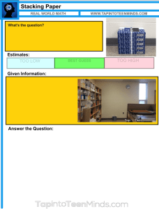 Stacking Paper Math Task Template Resources
