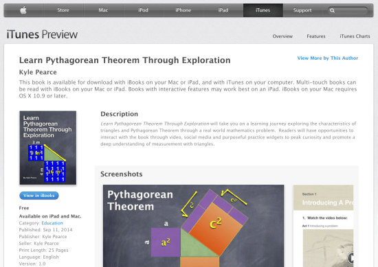 Learn Pythagorean Theorem Through Exploration - New Free iBook on iTunes by Kyle Pearce