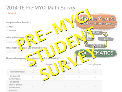 Middle Years Collaborative Inquiry Pre-MYCI Student Math Survey