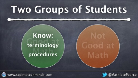 Two Groups of Math Students - Good know Terminology and Procedures
