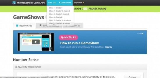 Knowledgehook Gameshow Course Selection