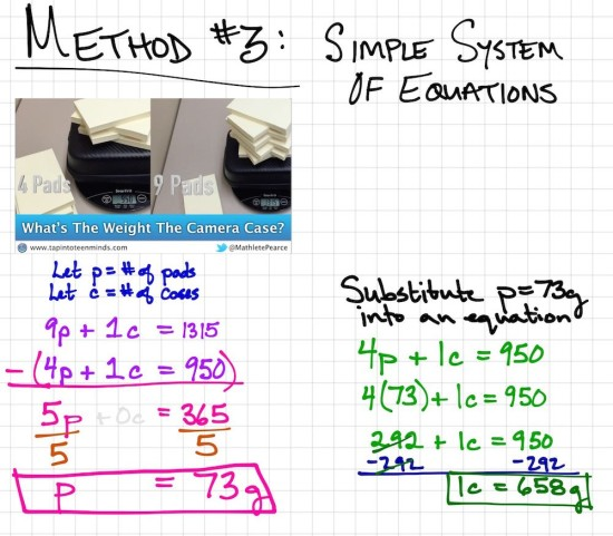 Camera Case and Pads of Paper Weigh In Exemplar 3 - Simple System of Equations