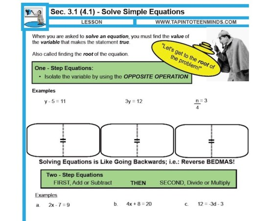 Solving Simple Equations Direct Instruction Note