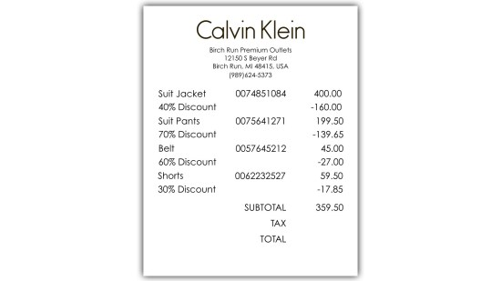 Calvins Clearance - Act 3 - Receipts 1