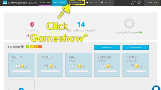 Knowledgehook EQAO Benchmark Tool - Login and Click Gameshow Tab