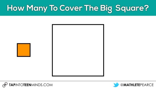Cover It Up! K-4 Task 15 - How many really small squares to cover the big square