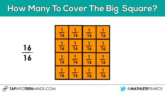 Cover It Up! K-4 Task 19 - Moving towards standard fraction notation with sixteeths