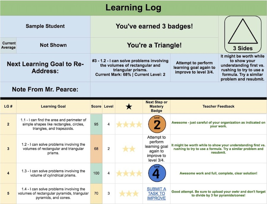 Spiralling Math Class - Learning Log For Standards Based Grading