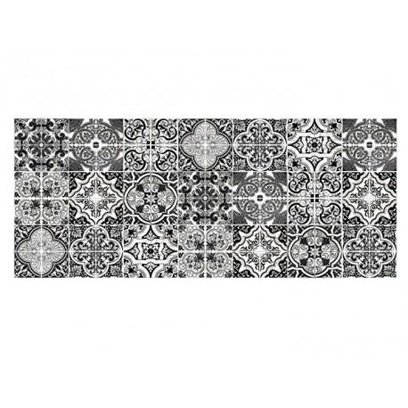 tapis carreaux de ciment noir et blanc