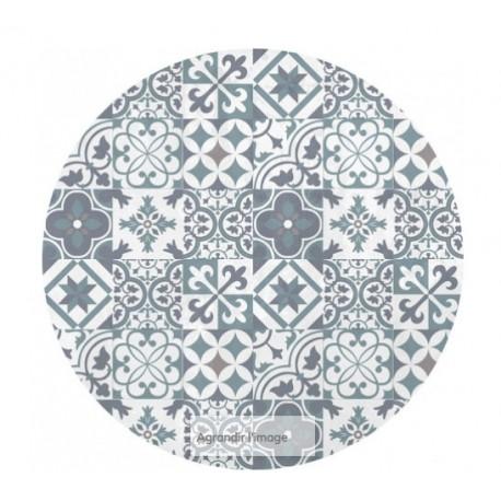 tapis vinyl carreaux de ciment rond