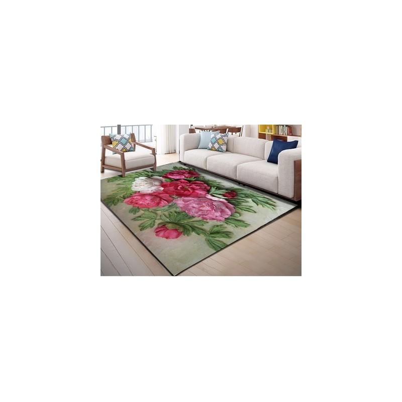 tapis moderne avec motifs fleurs roses