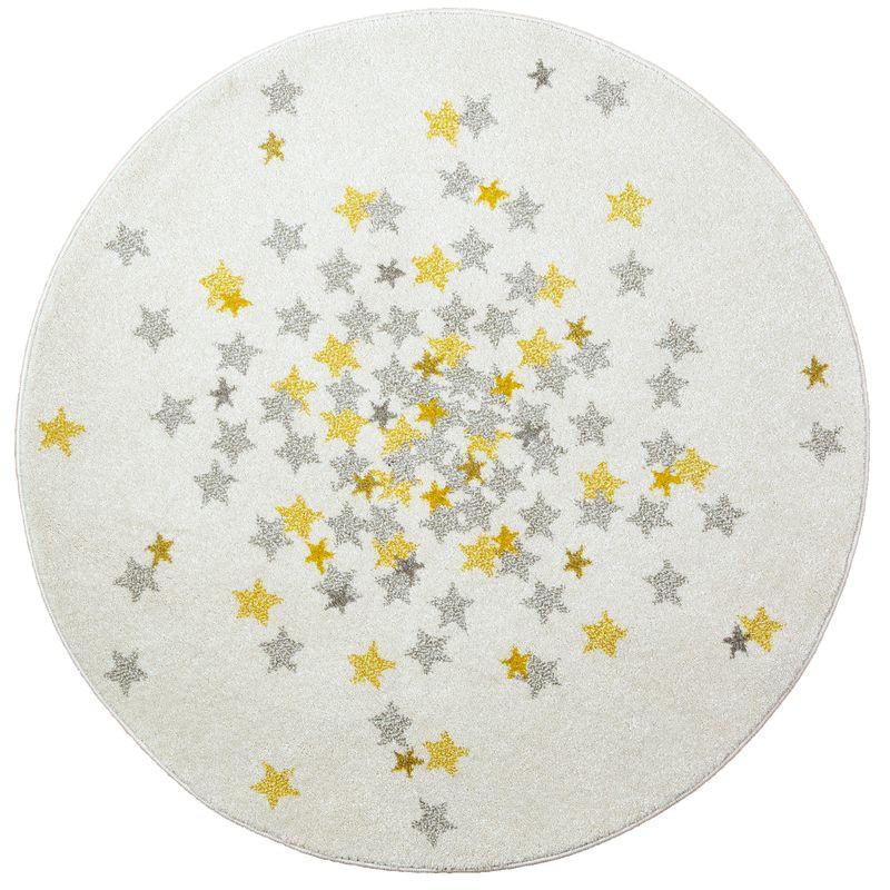 Tapis NOVA rond toiles grise et jaune chambre bebe par Art For Kids