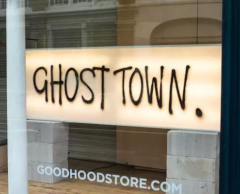 ghost town sign in shop
