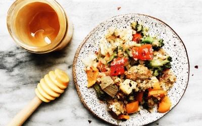Pineapple Honey Chicken, Sweet Pepper, Broccoli and Cauliflower Rice