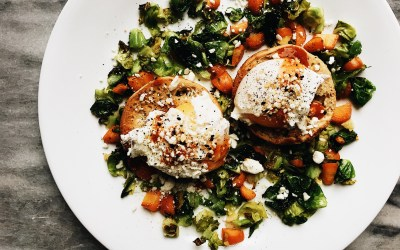 """Mini Bagel """"Benedict"""" with Garlic, Brussel Sprout & Carrot Hash"""