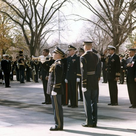 President Kennedy attends Veterans Day ceremonies at Arlington National Cemetery November 11, 1963. Clark is the bugler. Photo by Cecil Stoughton, White House/John Fitzgerald Kennedy Library, Boston