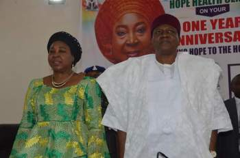 His Excellency, Arc. Darius Ishaku with his wife, Barr. Anna Ishaku celebrating the one year anniversary of Hope Health Centre in Jalingo.