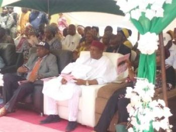 Gov. Ishaku seated together with the Honourable Commissioner for Health, Dr. Innocent Vakkai at the Flag off Ceremony.