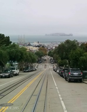 View of foggy Alcatraz from the cable car.