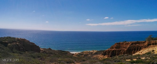 Panoramic view of the Pacific Ocean seen from Torrey Pines State Reserve Park