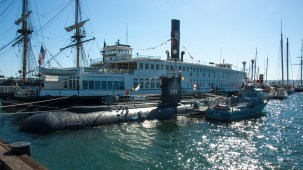 The Berkeley ferryboat housing the San Diego Maritime Museum and the USS Dolphin