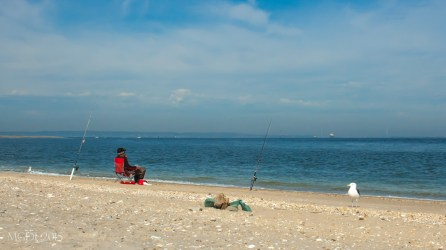 Liesurely fishing along the Atlantic shore