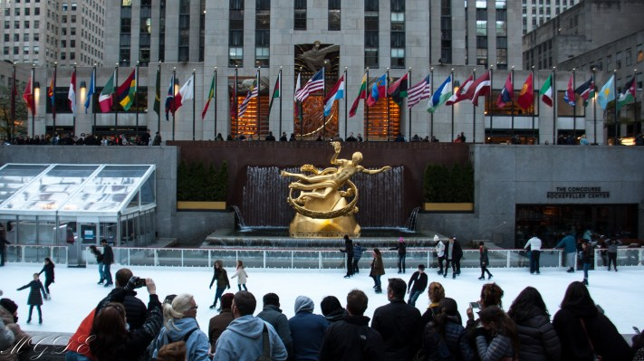 Prometheus at the lower plaza of Rockefeller Center, with ice-skating rink.