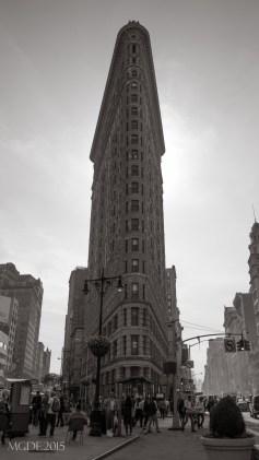 Flatiron Building, built in 1902, Renaissance Revival style.