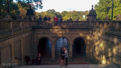 A couple having their pre-nup photo at Bethesda grand staircase.